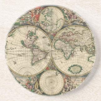 Old world map sandstone coaster