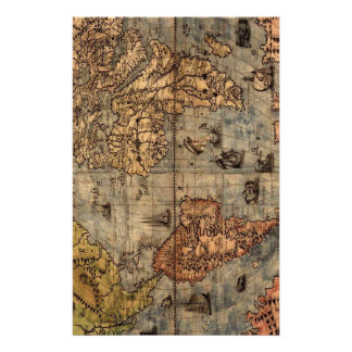 Old World Map Stationery Design