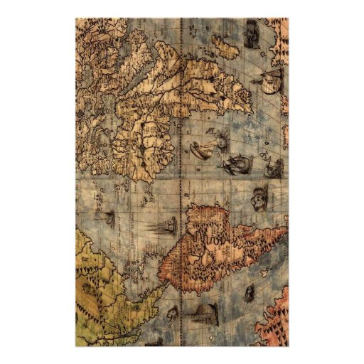 Old World Map Stationery Design