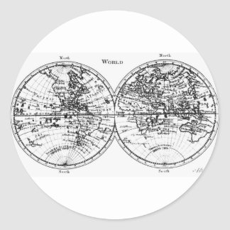 Old world map round stickers