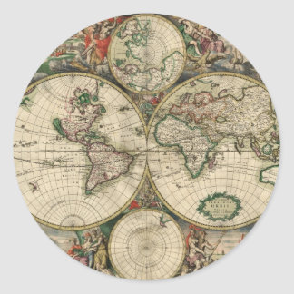 Old world map stickers