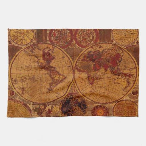 Old World Map Tea Towels