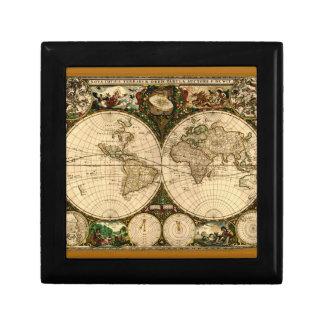 Old World Map Tile Trinket Boxes
