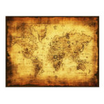 OLD WORLD MAP TRAVEL OFFICE INVITATION POSTCARD