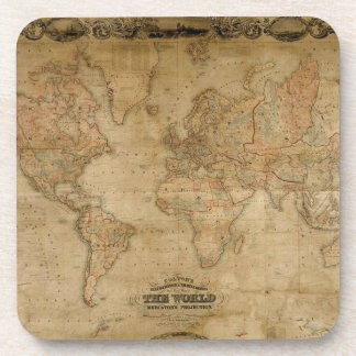Old World Map Vintage Cork Coasters
