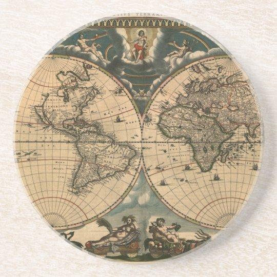 Old World Map Vintage Earth Gift Coaster | Zazzle.com