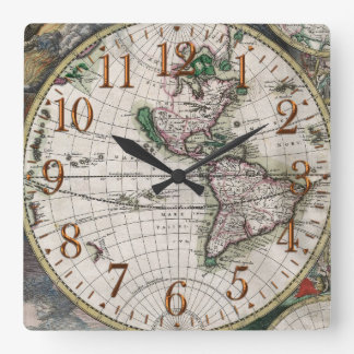 Old World Map Vintage History Designer Clock