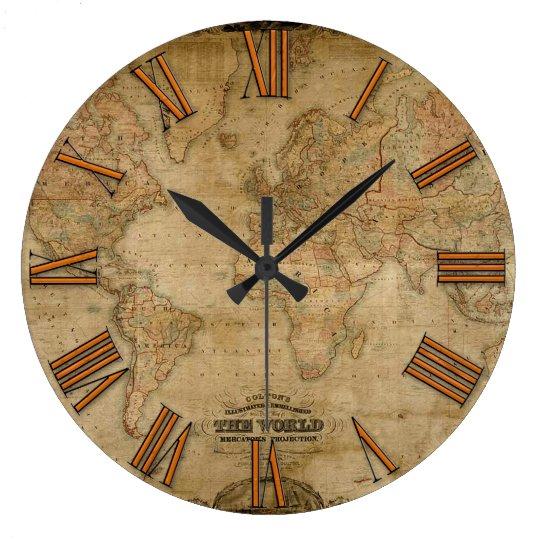 Old World Map Vintage History Designer Clock Zazzle Com