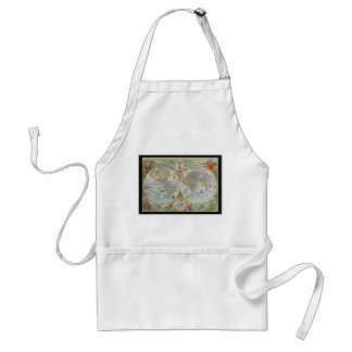 Old World Map with Colorful Artwork Apron