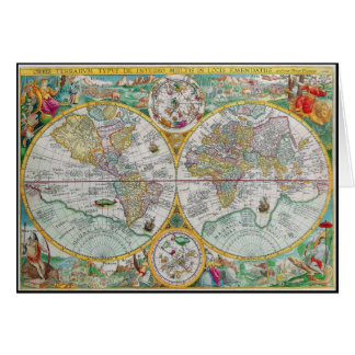 Old World Map with Colorful Artwork Card