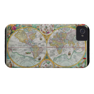 Old World Map with Colorful Artwork iPhone 4 Cases