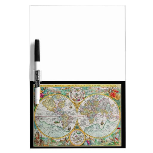 Old World Map with Colorful Artwork Dry Erase Whiteboards