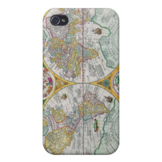 Old World Map with Colorful Artwork iPhone 4/4S Cases