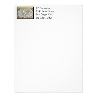 Old World Map with Colorful Artwork Letterhead Design