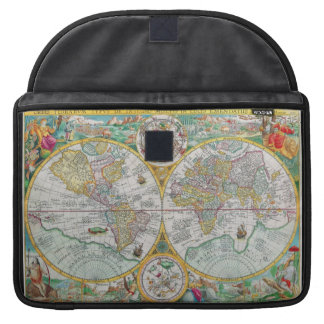 Old World Map with Colorful Artwork Sleeve For MacBooks