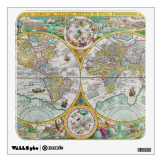 Old World Map with Colorful Artwork Wall Sticker