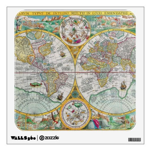Old World Map with Colorful Artwork Wall Stickers