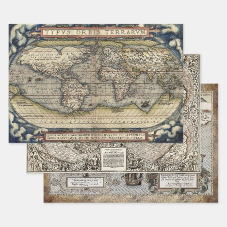 OLD WORLD MAPS HEAVY WEIGHT DECOUPAGE WRAPPING PAPER SHEETS