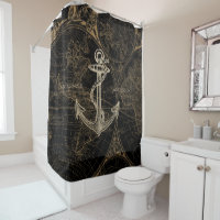 Old World Nautical Anchor Add Name Black Shower Curtain