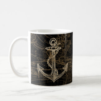 Old World Nautical Anchor Monogram Black Coffee Mug