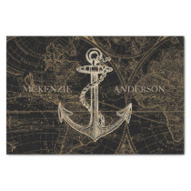 Old World Nautical Anchor Monogram Black Tissue Paper