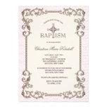 Old World Pink Baptism Invitation
