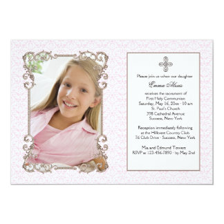 Old World Pink Damask Photo Religious Invitation