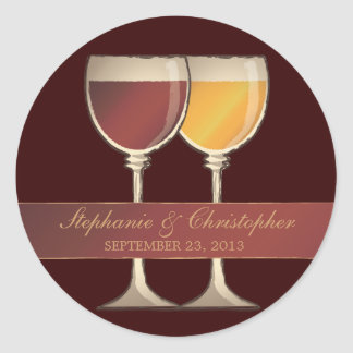 Old World Red & White Wine Glass Favor Labels Classic Round Sticker