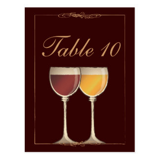 Old World Red & White Wine Glass Table Number Card
