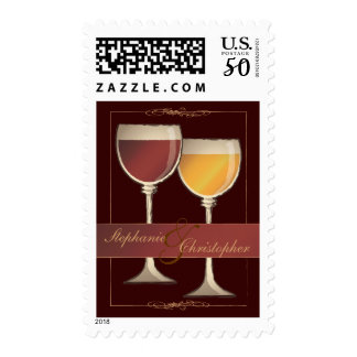 Old World Red & White Wine Glass Wedding Postage