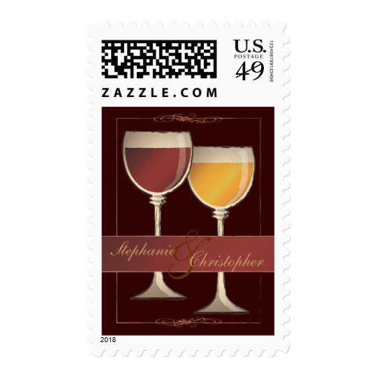 Old World Red & White Wine Glass Wedding Postage
