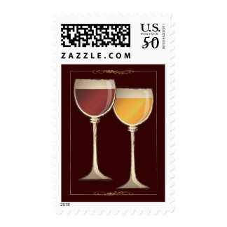 Old World Red & White Wine Glasses Postage