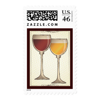 Old World Red White Wine Themed Postage