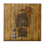 Old World Sailing Small Square Tile