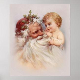 Old World Santa and Cherub Posters
