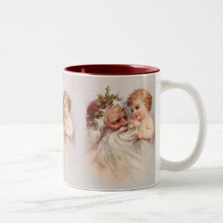 Old World Santa and Cherub Two-Tone Coffee Mug