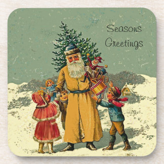old world santa art beverage coaster