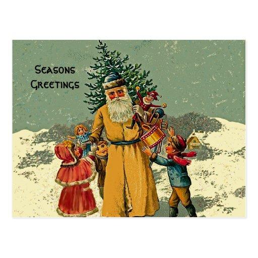 old world santa art postcard