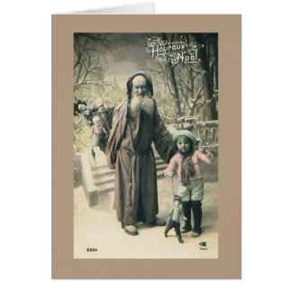Old World Santa French Christmas 1915 Vintage Card