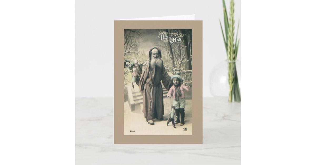 Old World Santa French Christmas 1915 Vintage Holiday Card | Zazzle.com