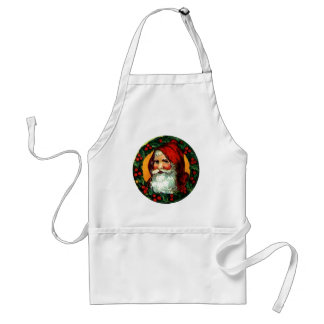 Old World Santa in Traditional Holly Wreath frame Apron