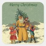 old world santa square sticker