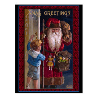 Old World Santa Xmas Greetings Postcard