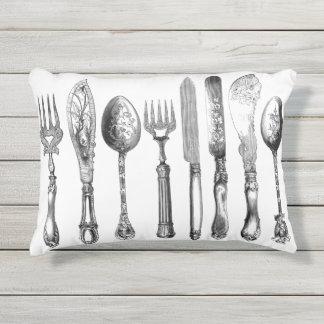 Old-World-Silverware_OUTDOOR_INDOOR-Pillows Outdoor Pillow