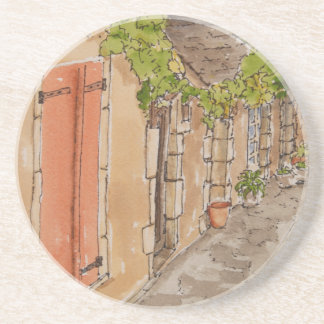 Old World Street on Sandstone Coasters
