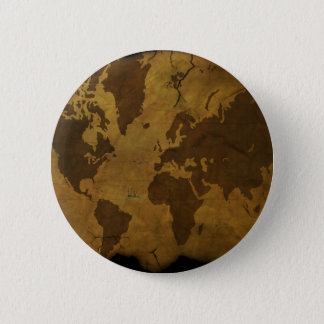 Old World Style Map Pinback Button