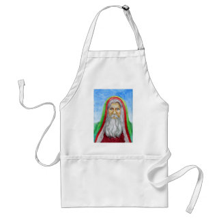 Old World Style Santa in Green and Red Hood Aprons