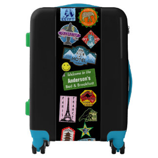 Old World Travel Vintage Stickers Custom Name Luggage