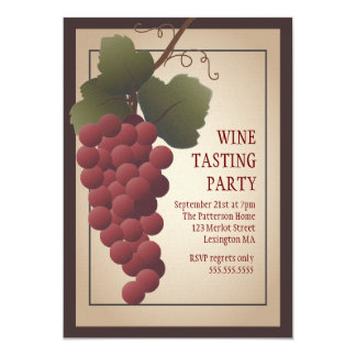 """Old World Tuscan Grapevine Wine Tasting Party 5"""" X 7"""" Invitation Card"""