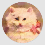 Old World Vintage Christmas Cat Stickers
